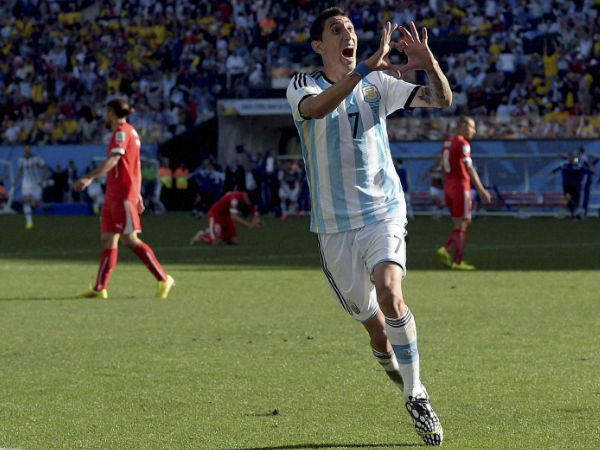 Angel di Maria celebrates after scoring his side's only and winning goal in extra time during the World Cup Round of 16 match between Argentina and Switzerland in Sao Paulo on July 1, 2014. Argentina defeated Switzerland 1-0 to move on to the quarterfinals.