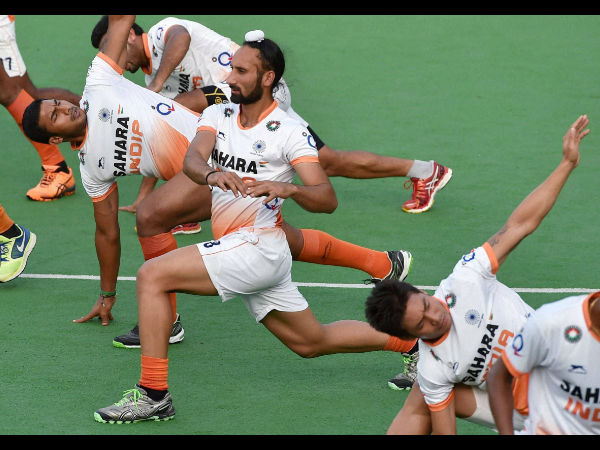 Indian hockey players during a training session at National Stadium in New Delhi on Friday ahead of their departure to Glasgow, Scotland for the Commonwealth Games 2014.