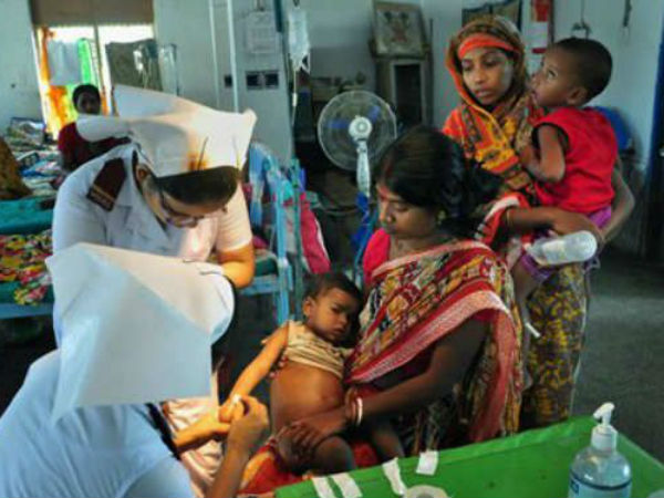 Children being treated at Medical College and Hospital in Malda, West Bengal. (PTI photo)