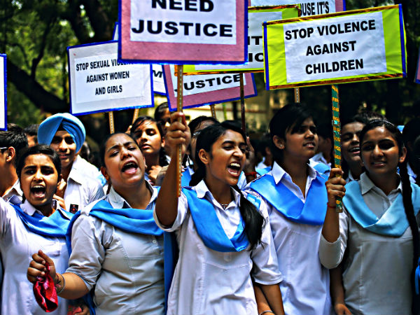 School students protesting against rape of a girl