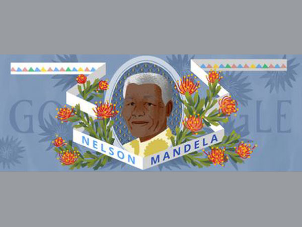 Nelson Mandela with a Doodle on the occasion of his 96th birthday