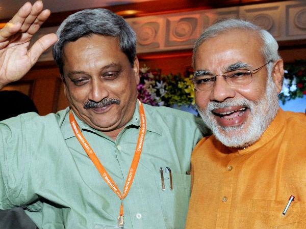 Goa CM Manohar Parrikar with PM Modi