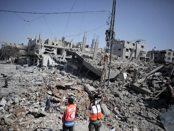 A general view shows the destruction in Gaza City's Shijaiyah