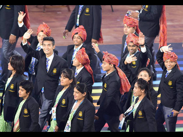 Indian contingent marching past at Celtic Park during the opening ceremony of Commonwealth Games in Glasgow, Scotland on Wednesday (July 23).