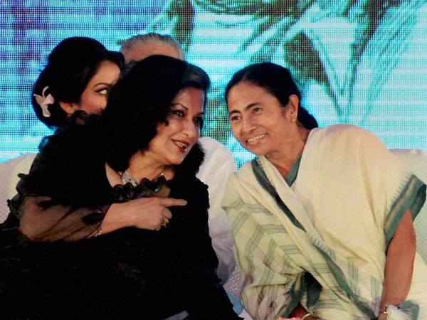 West Bengal Chief Minister Mamata Banerjee with film actress