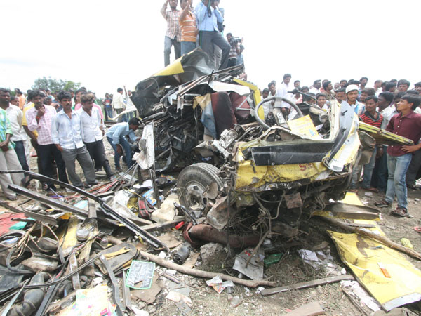 A passenger train rammed into a school bus at an unmanned railway crossing in Medak