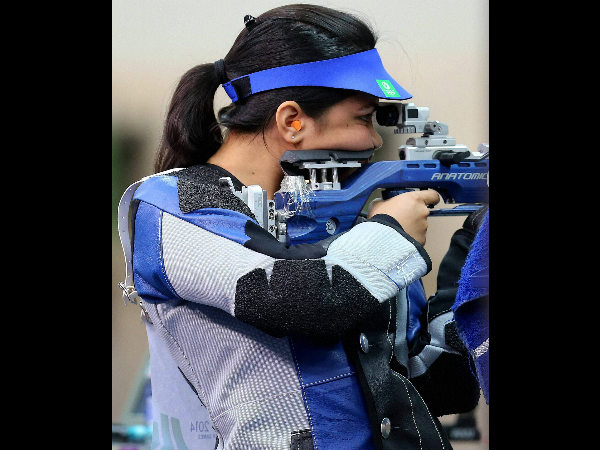 India's Apurvi Chandela in action. She won gold