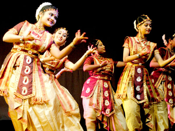 Artists perform during a cultural evening at Rabindra Bhawan