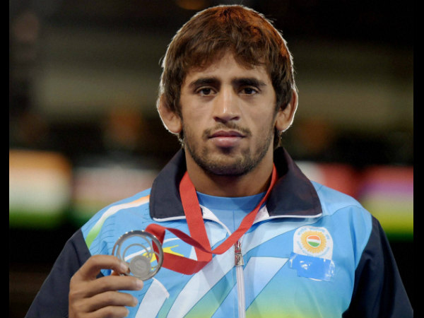 India's Bajrang with his silver medal