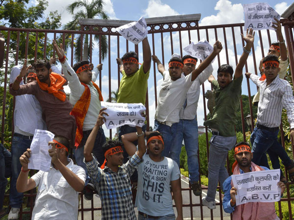 ABVP activists demonstrate in front of Raj Bhawan