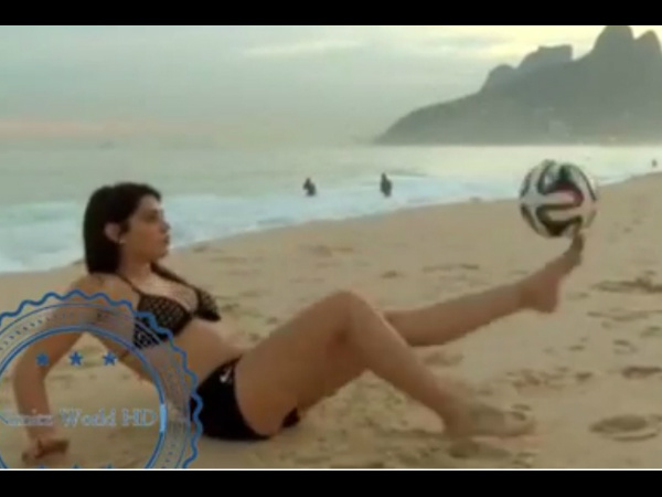 World Cup Video: Model beats 800 men at freestyling, next target Lionel Messi!