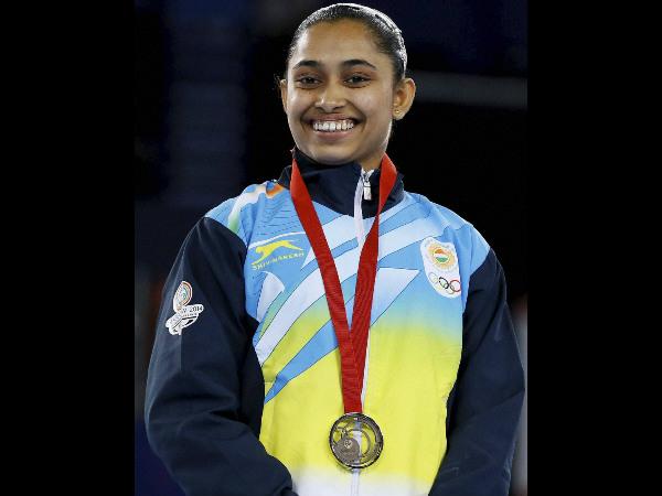 Dipa Karmakara with her bronze medal