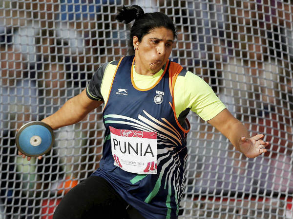 Seema Punia in action in women's discus throw. She won silver
