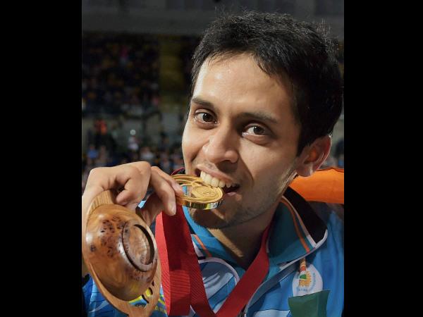 P Kashyap bites his gold medal
