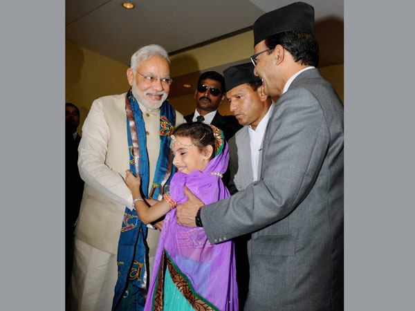 Prime Minister Narendra Modi gets a traditional welcome