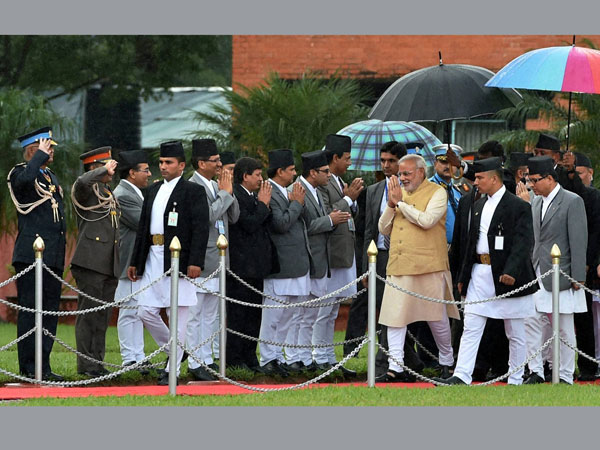 Prime Minister Narendra Modi greets Parliamentarians of Nepal