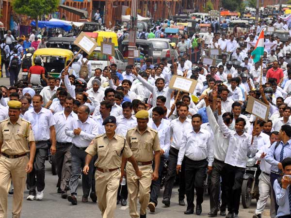 Lawyers participate in a protest rally in Jaipur