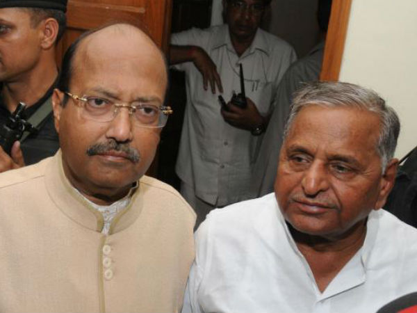 Amar Singh and Mulayam Singh. (file photo)