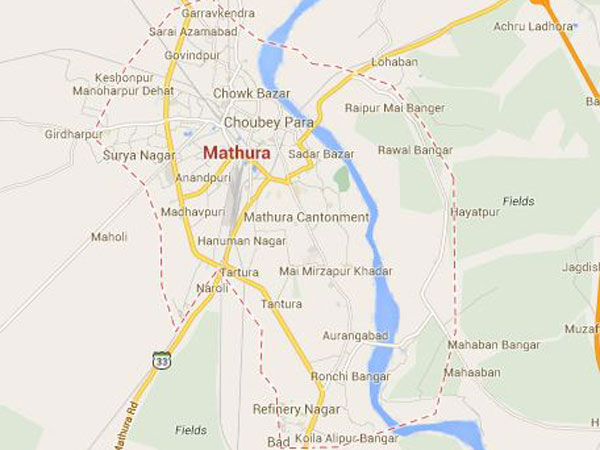 Fire in a temple in Mathura