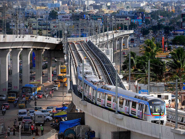 A Hyderabad metro train taking its first trial test