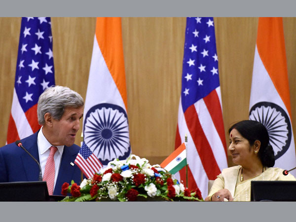 John Kerry with Sushma Swaraj
