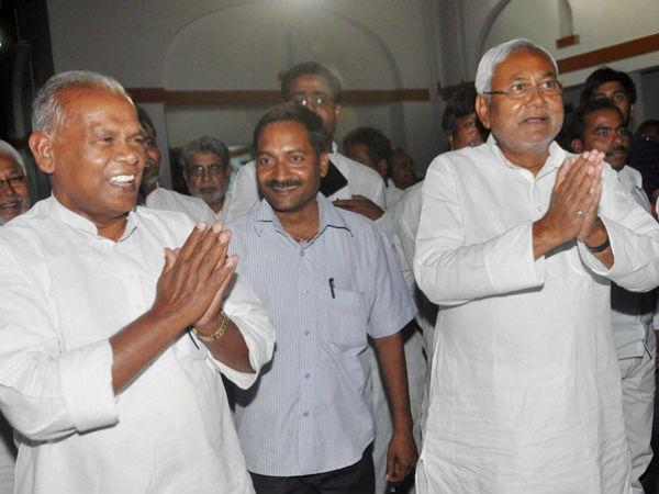 Nitish Kumar with Jitan Ram Manjhi