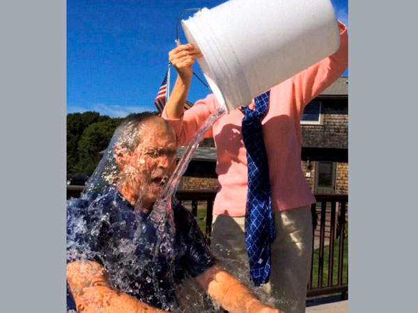 George W Bush takes ice bucket challenge