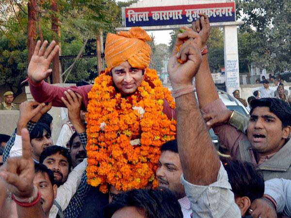 Sangeet Som, after he was released from prison