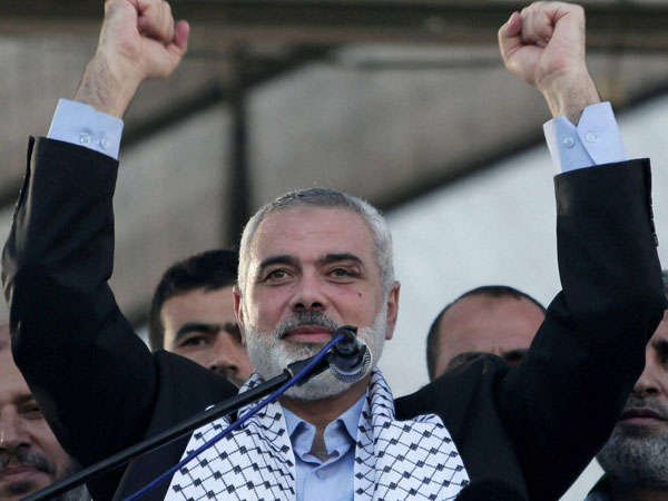 Haniyeh speaks at a rally in Gaza