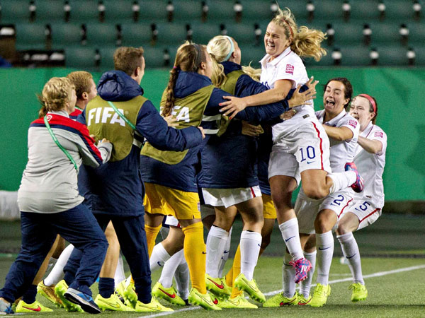 US celebrates goal against Brazil