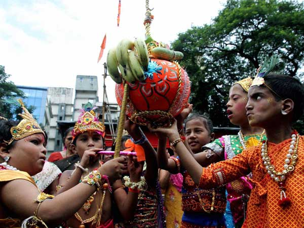 Children celebrating 'Dahi Handi' in Thane