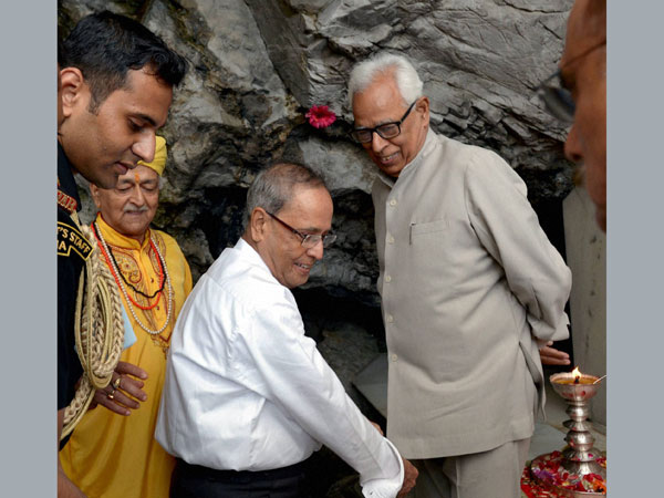 President Pranab Mukherjee during a visit to Mata Vaishno Devi shrine