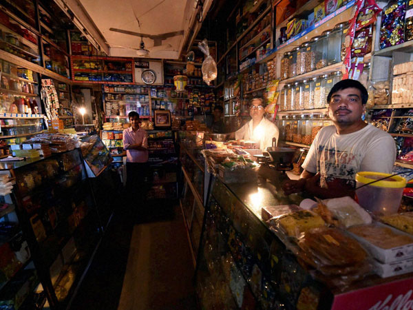 A shop in central Mumbai in darkness
