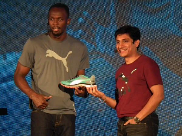 Usain Bolt with Puma India MD Rajiv Mehta. Photo by Aprameya .C