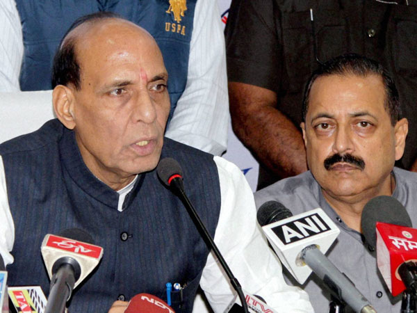 Union Home Minister Rajnath Singh along with MoS PMO Jitendra Singh addressing a press conference after reviewing the flood situation in Jammu and Kashmir, at Technical Airport in Jammu on Saturday.