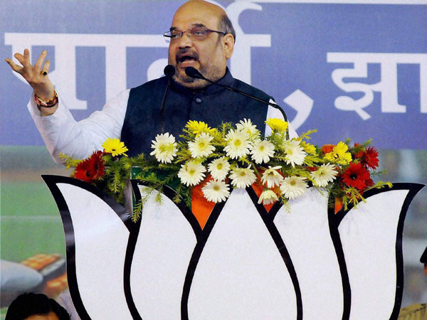 BJP President Amit Shah addressing the party workers