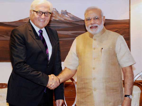 PM Modi shakes hands with German Foreign Minister Frank-Walter Steinmeier