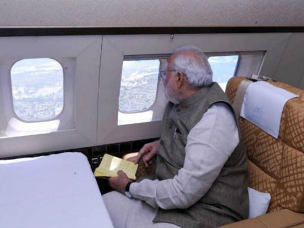 Modi taking aerial view of J&K areas.