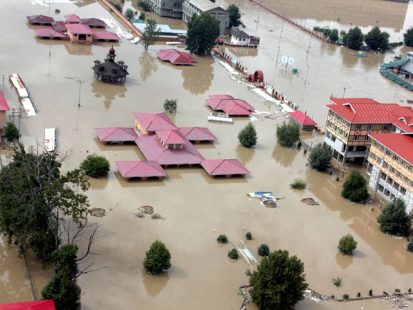 An aerial view of a flooded locality in Srinagar city