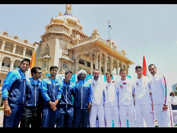Indian and Serbian players during the draw ceremony of Davis Cup World Group play off tie, at Vidhan Soudha in Bangalore on Thursday.