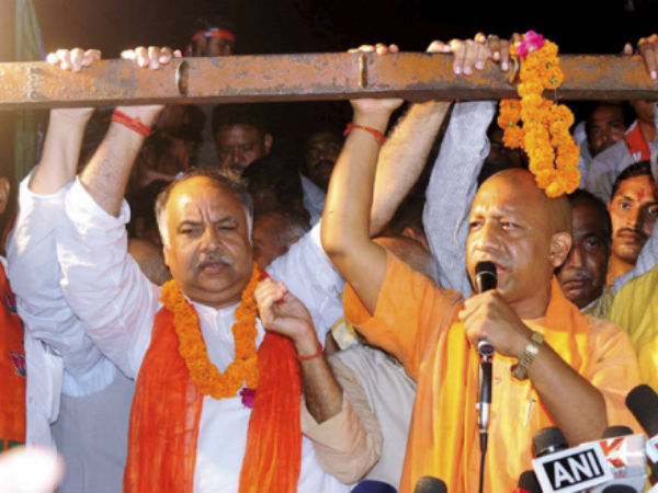 Yogi Adityanath addressed the supporters on a truck after denied speech at rally in Lucknow.