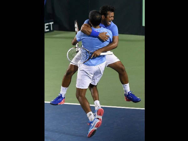Leander Paes and Rohan Bopanna are ecstatic after winning the doubles match