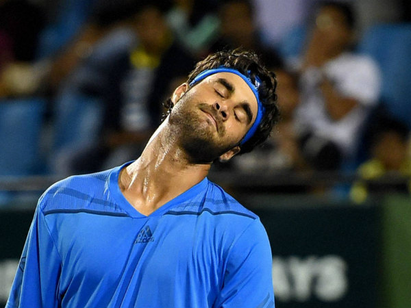 India's Yuki Bhambri reacts after losing a set against Serbia's Filip Krajinovic