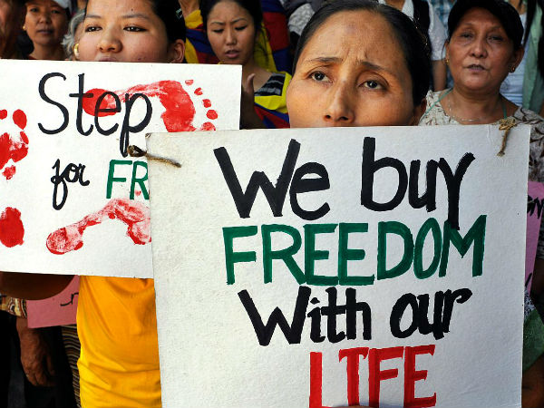 Tibetans protesting against China