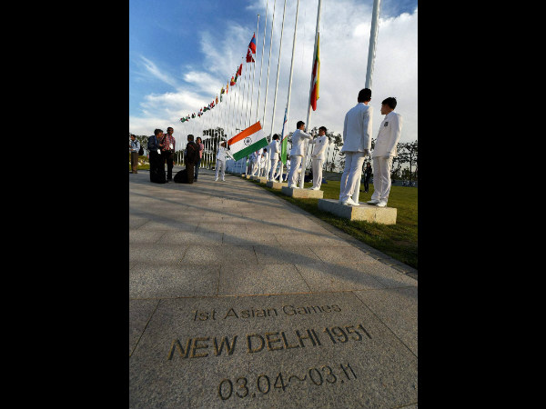 Indian flag is ready to be hoisted at the Flag hoisting ceremony of 17th Asian Games in Incheon, South Korea on Thursday.