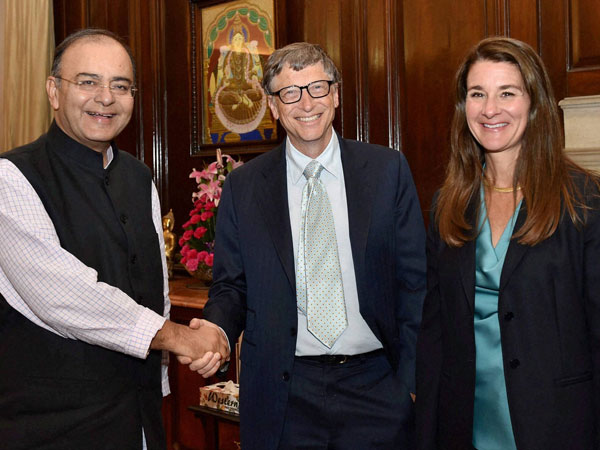Finance Minister Arun Jaitley with Bill Gates and Melinda Gates