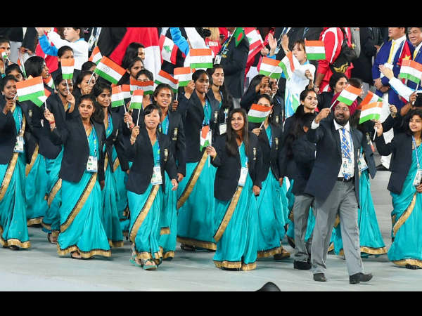 Indian contingent marches during the opening ceremony for the 17th Asian Games in Incheon, South Korea on Friday.