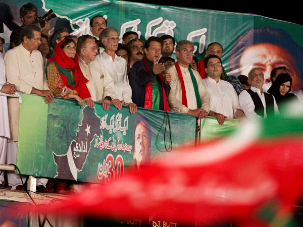 Imran Khan addresses supporters in Islamabad