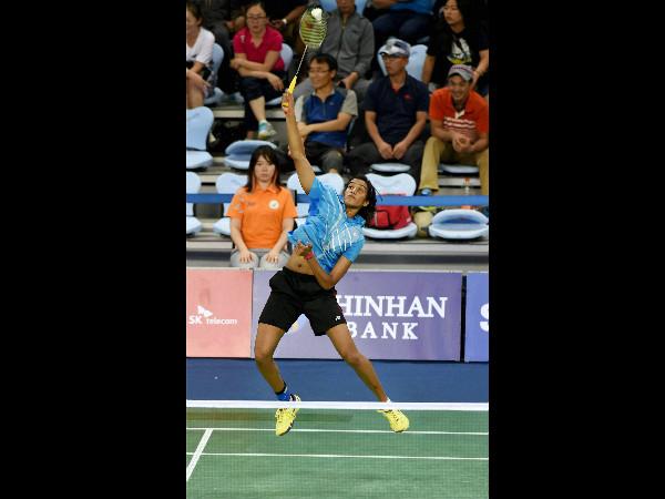 PV Sindhu plays a shot against Korean Bae Yeon Ju during the women's team semi-final match. Sindhu lost the singles tie.