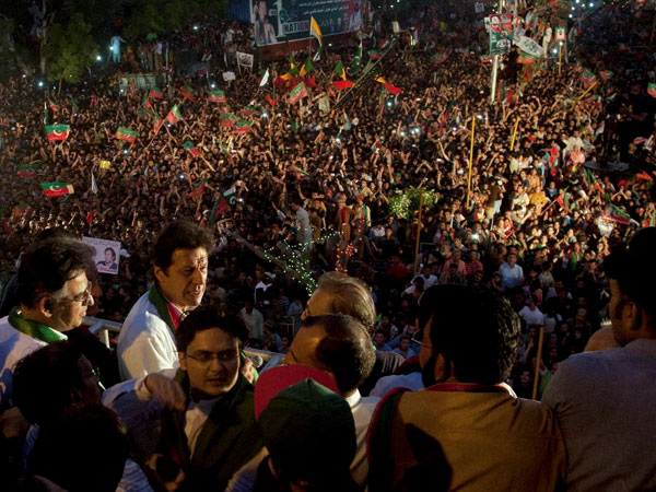 Imran addresses supporters